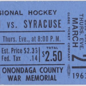 1963 EPHL Syracuse Braves ticket vs Kingston for sale