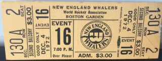 1972 WHA Ottawa Nationals at New England Whalers ticket stub 30