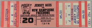 1978 NEHL New Hampshire Freedoms at Jersey Aces ticket stub