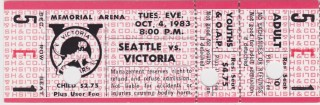 1983 WHL Victoria Cougars ticket stub vs Seattle