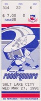 1991 IHL Phoenix Roadrunners ticket stub vs Salt Lake