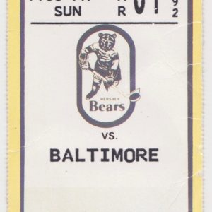 1992 AHL Hershey Bears ticket stub vs Baltimore for sale