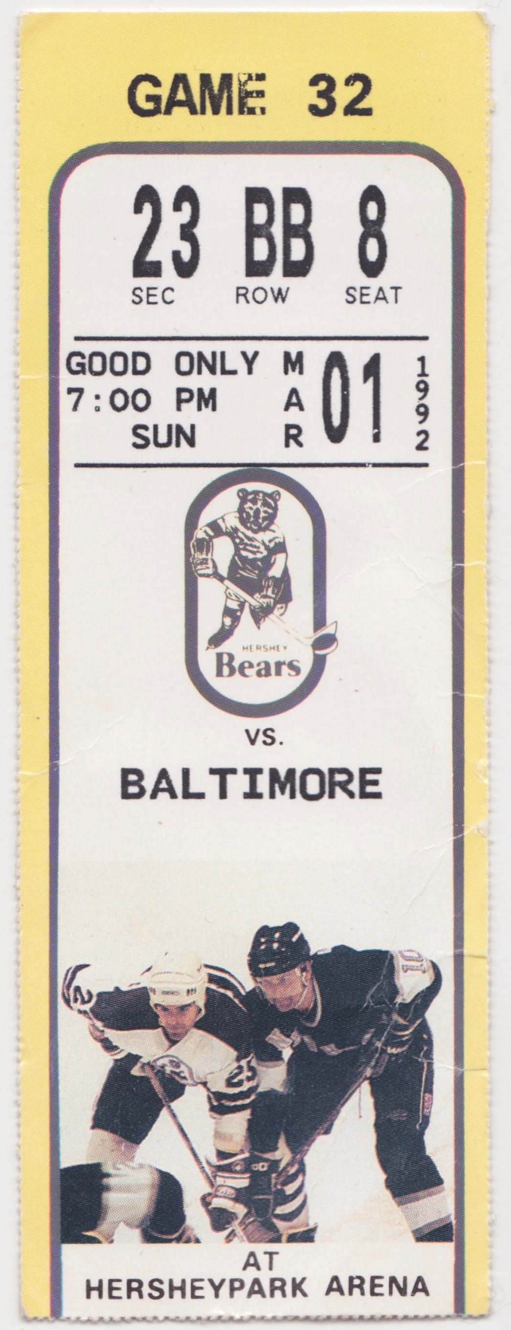 1992 AHL Baltimore Skipjacks at Hershey Bears