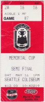 1992 Memorial Cup ticket stub Kamloops vs Seattle