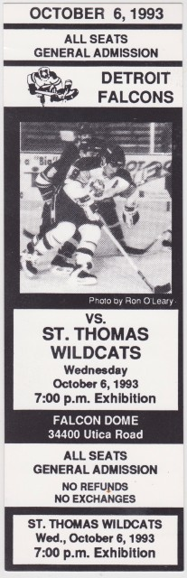1993 CoHL St. Thomas Wildcats at Detroit Falcons ticket stub