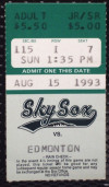1993 MiLB PCL Edmonton Trappers at Colorado Springs Sky Sox ticket stub