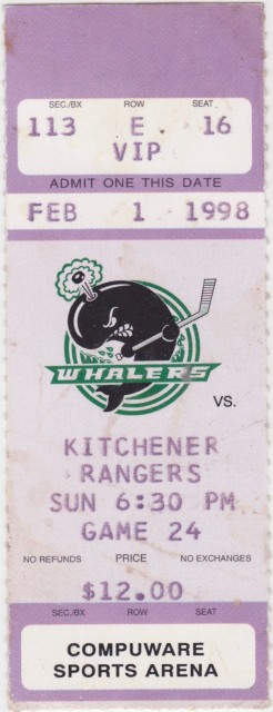 1998 OHL Plymouth Whalers ticket stub vs Rangers