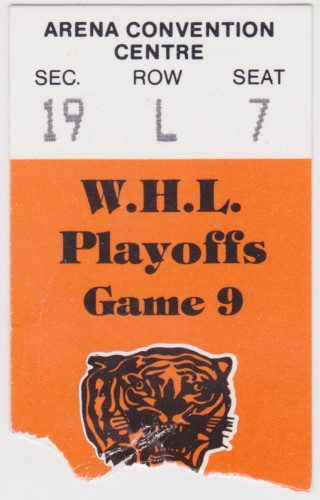 1986 WHL Playoffs Medicine Hat Tigers ticket stub