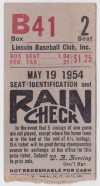 1954 MiLB Western League Lincoln Chiefs ticket stub