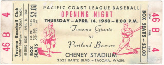 1960 MiLB PCL Portland Beavers at Tacoma Giants Opening Night Unused Ticket 80