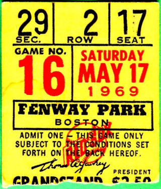 1969 MLB Seattle Pilots at Boston Red Sox ticket stub