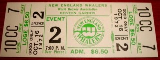 1972 WHA Chicago Cougars at New England Whalers ticket stub 25