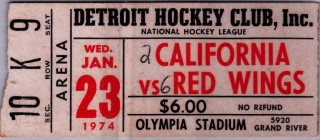 1974 NHL Golden Seals at Red Wings Ticket Stub