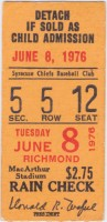 1976 Syracuse Chiefs ticket stub vs Richmond Braves