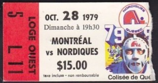 1979 NHL Canadiens at Nordiques ticket stub