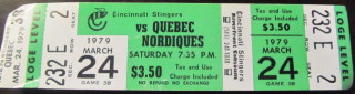 1979 WHA Nordiques at Stingers ticket stub