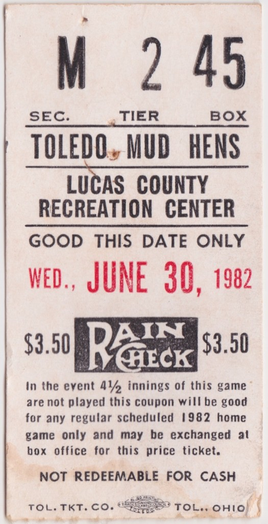 1982 Toledo Mud Hens Ticket Stub vs Charleston