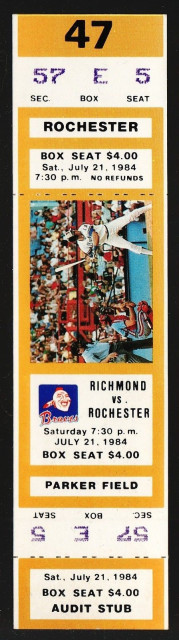 1984 MiLB Rochester Red Wings at Richmond Braves ticket stub