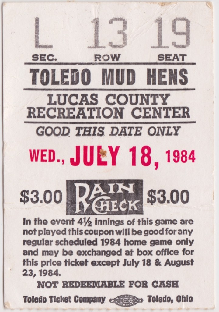 1984 Toledo Mud Hens Ticket Stub vs Pawtucket