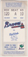 1989 Richmond Braves ticket stub vs Louisville Redbirds
