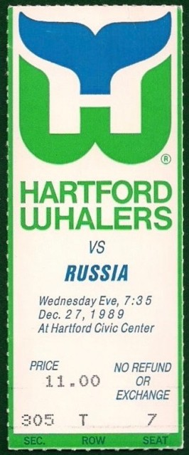 1989 NHL Russia at Whalers ticket stub