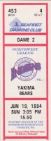 1994 Spokane Indians ticket stub vs Yakima Bears