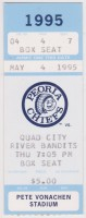 1995 Peoria Chiefs ticket stub vs Quad City River Bandits