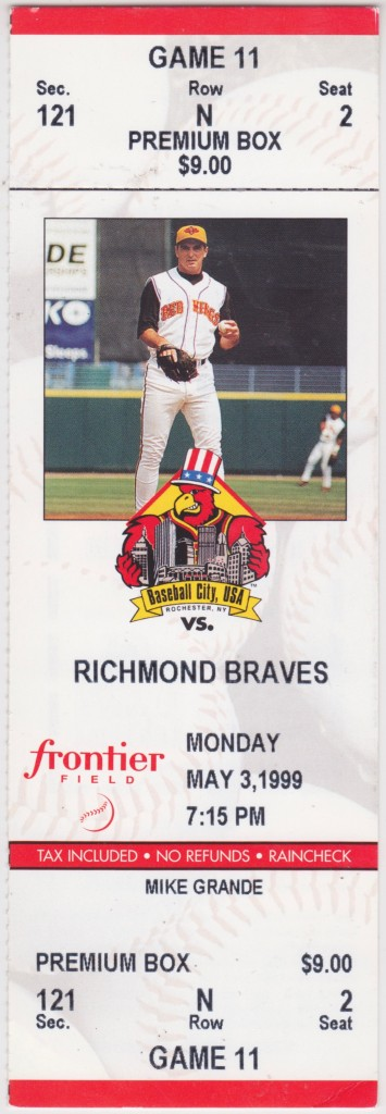 1999 Rochester Red Wings ticket stub vs Richmond