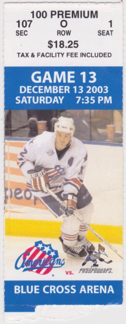 2003 AHL Phoenix Roadrunners at Rochester Americans ticket stub