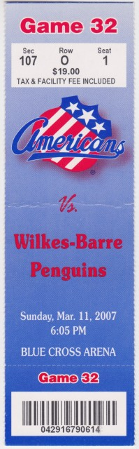 2007 AHL Wilkes Barre Penguins at Rochester Americans ticket stub