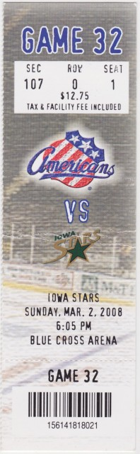 2008 AHL Iowa Stars at Rochester Americans ticket stub