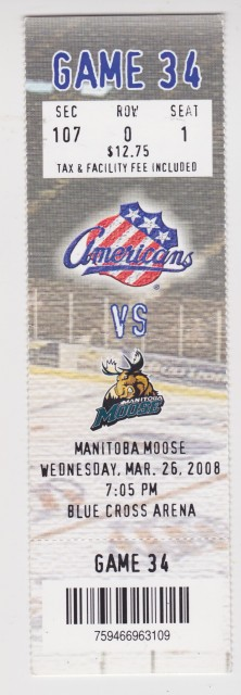2008 AHL Manitoba Moose at Rochester Americans ticket stub