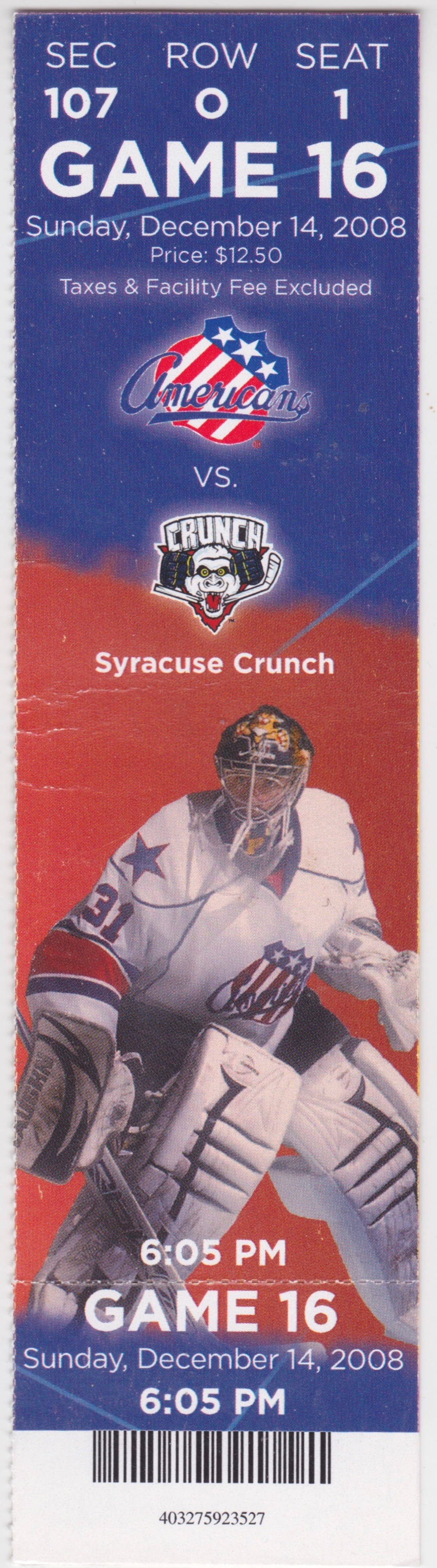 2008 Rochester Americans ticket stub vs Syracuse for sale
