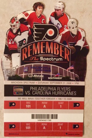 2008 NHL Hurricanes at Flyers ticket stub 50