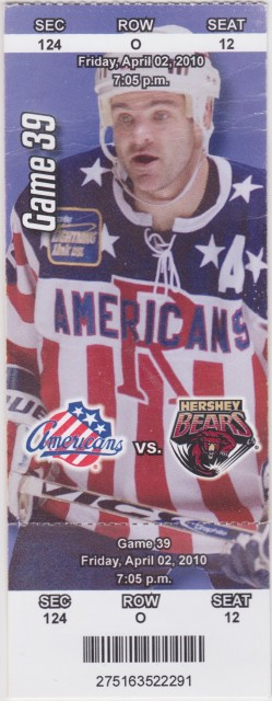 2010 AHL Hershey Bears at Rochester Americans ticket stub