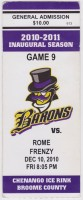2010 FHL Broome County Barons ticket stub vs Rome Frenzy
