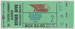 1984 Rochester Red Wings ticket stub vs Toledo