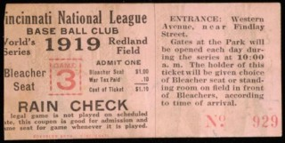1919 World Series Game 6 White Sox at Reds ticket stub