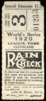 1920 World Series Game 6 Ticket Stub Dodgers at Indians