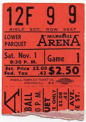 1952 NBA Indianapolis Olympians at Milwaukee Hawks ticket stub