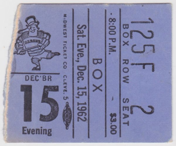1962 Cleveland Barons ticket stub vs Providence for sale