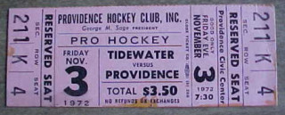 1972 AHL Tidewater Wings at Providence Reds ticket stub