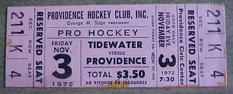 1972 AHL Providence Reds ticket stub vs Tidewater