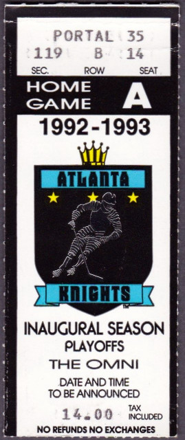 1993 IHL Playoffs Indianapolis Ice at Atlanta Knights ticket stub