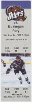 2001 UHL Muskegon Fury at Missouri River Otters ticket stub