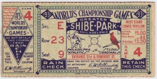 1931 World Series Game 4 Philadelphia Cardinals at Athletics Ticket Stub
