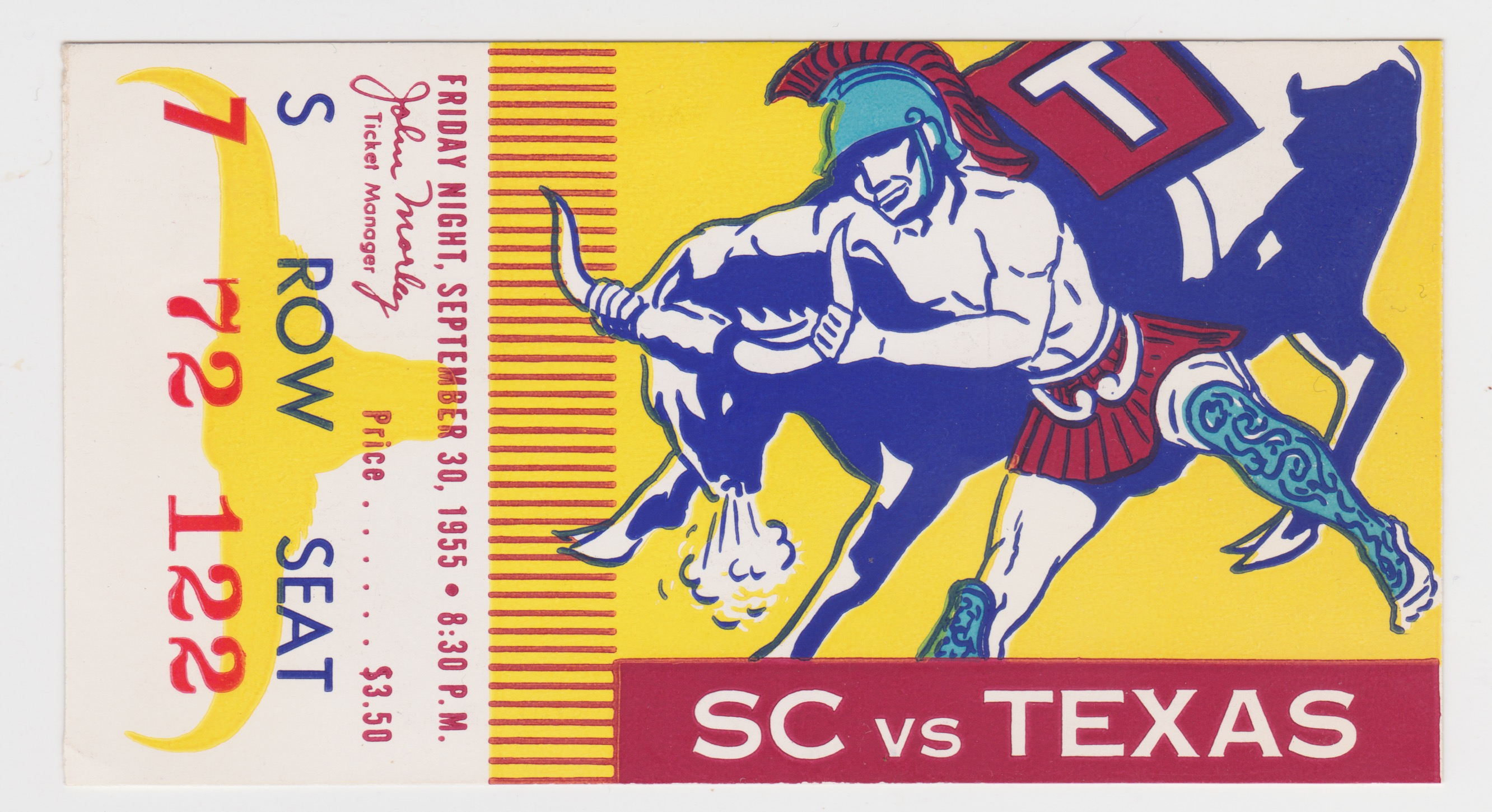1955 NCAAF USC ticket stub vs Texas