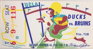 1958 NCAAF UCLA ticket stub vs Oregon
