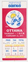 1973 Minnesota Fighting Saints ticket stub vs Ottawa Nationals
