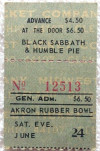1979 Black Sabbath Akron Rubber Bowl ticket stub